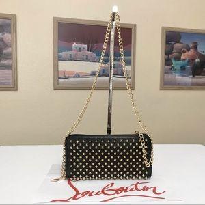 Christian Louboutin Gold Tone Studded Calfskin Leather Wallet/Crossbody Bag 💼